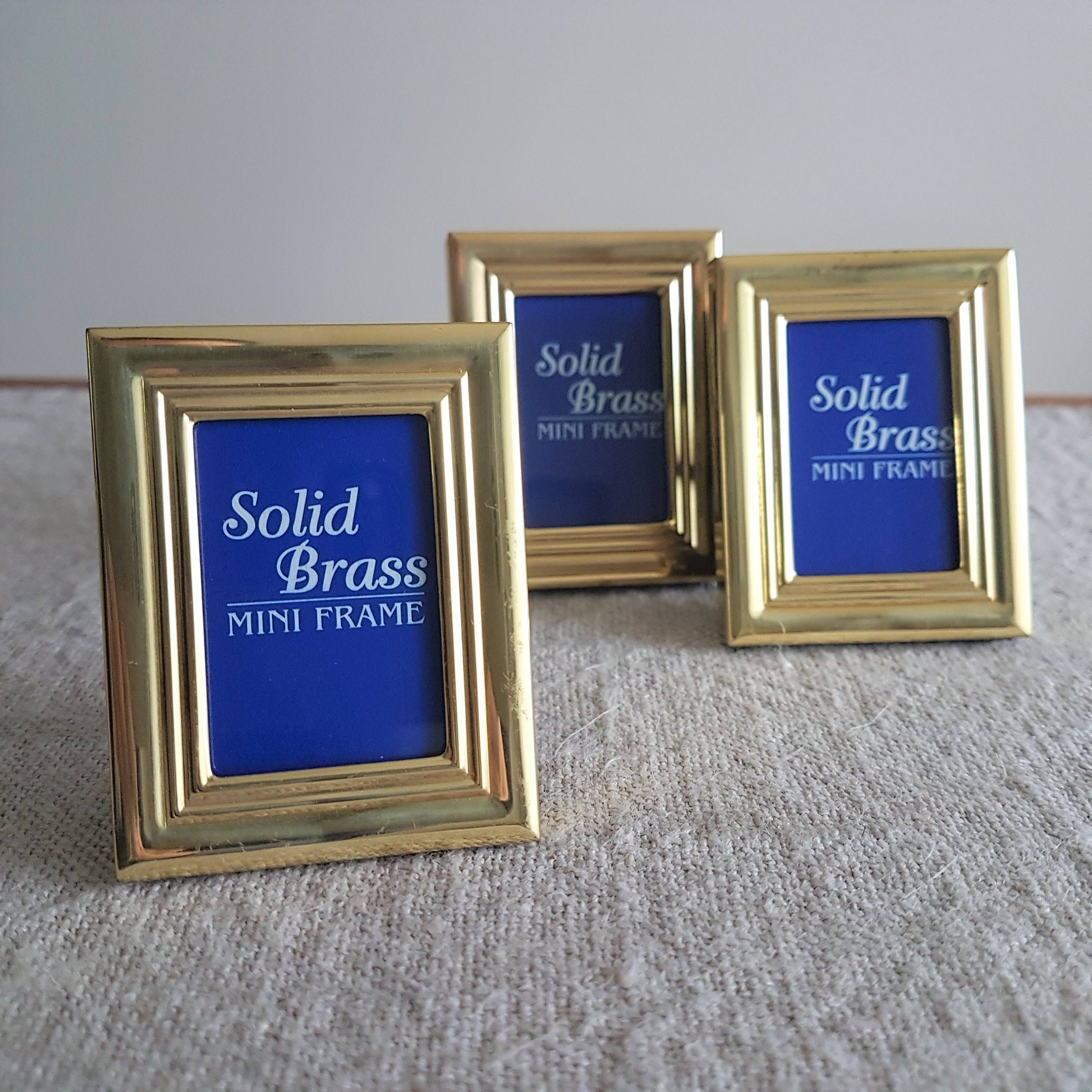 1 34 x 2 14 set of 3 miniature solid brass picture frames x set of 3 miniature solid brass picture frames wallet size photos gold tone metal rectangule retro small mini by bluechickenvintage on etsy jeuxipadfo Image collections