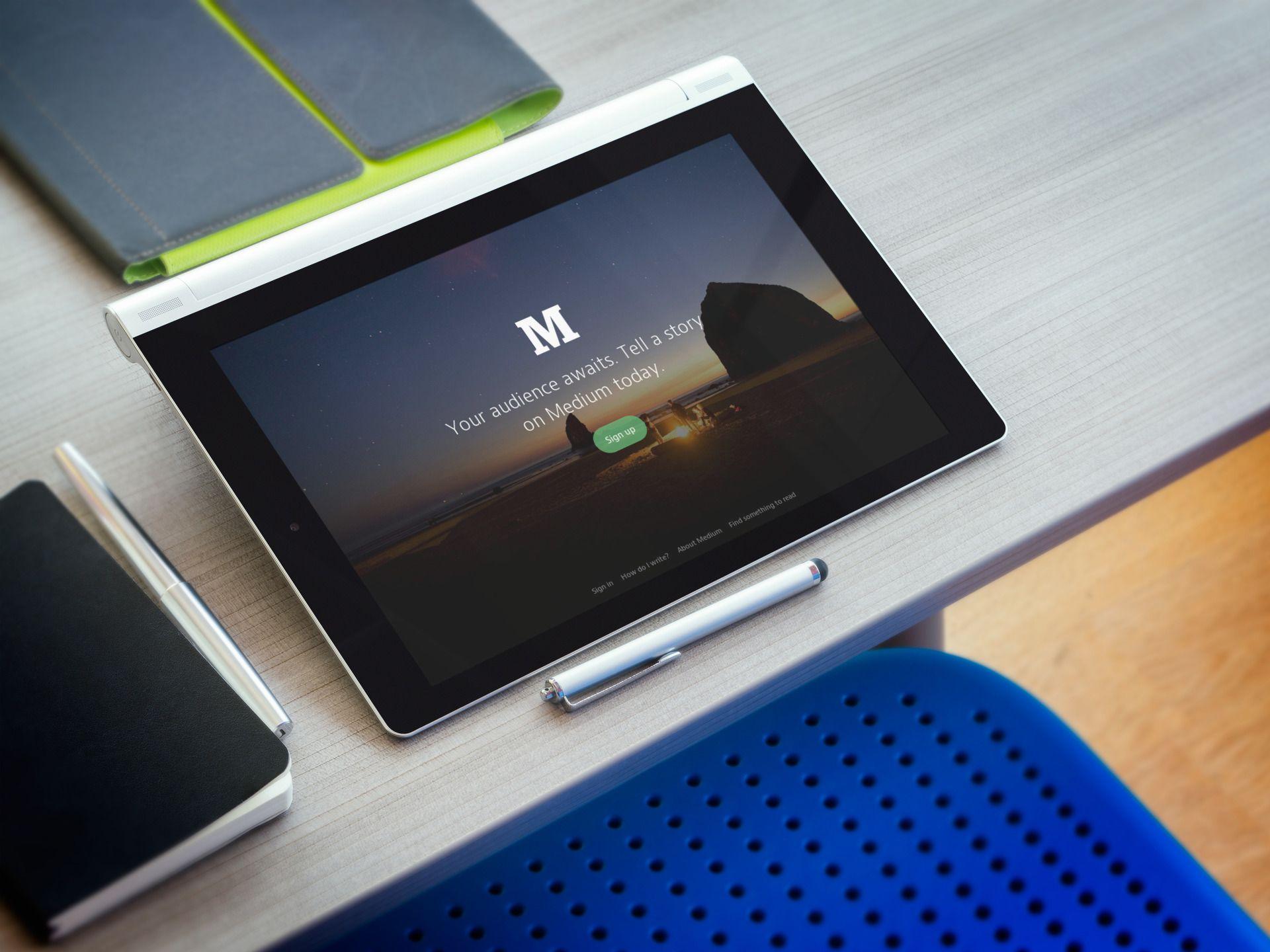 Mockup Tool Silver Lenovo Yoga at Workstation. New Android