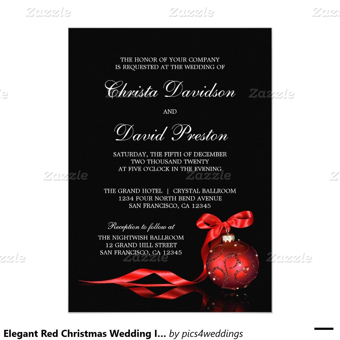 elegant red christmas wedding invitations template wedding invites