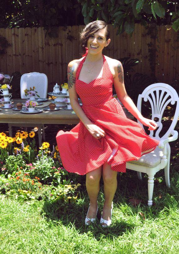 Halter Red Swiss Polka Print Alex Rose Dress by MissBrache on Etsy, $165.00