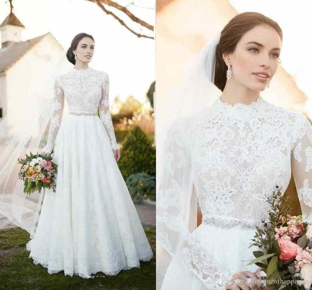 High neck long sleeve wedding gown country modest bridal dress