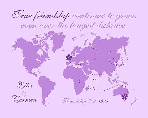 True friends custom map art long distance friend in europe usa best friend easter gift long distance map spring decor flowers purple negle Choice Image