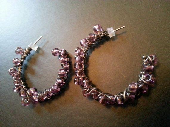 Purple Wire Wrapped Hoop Earrings by Naps on Etsy