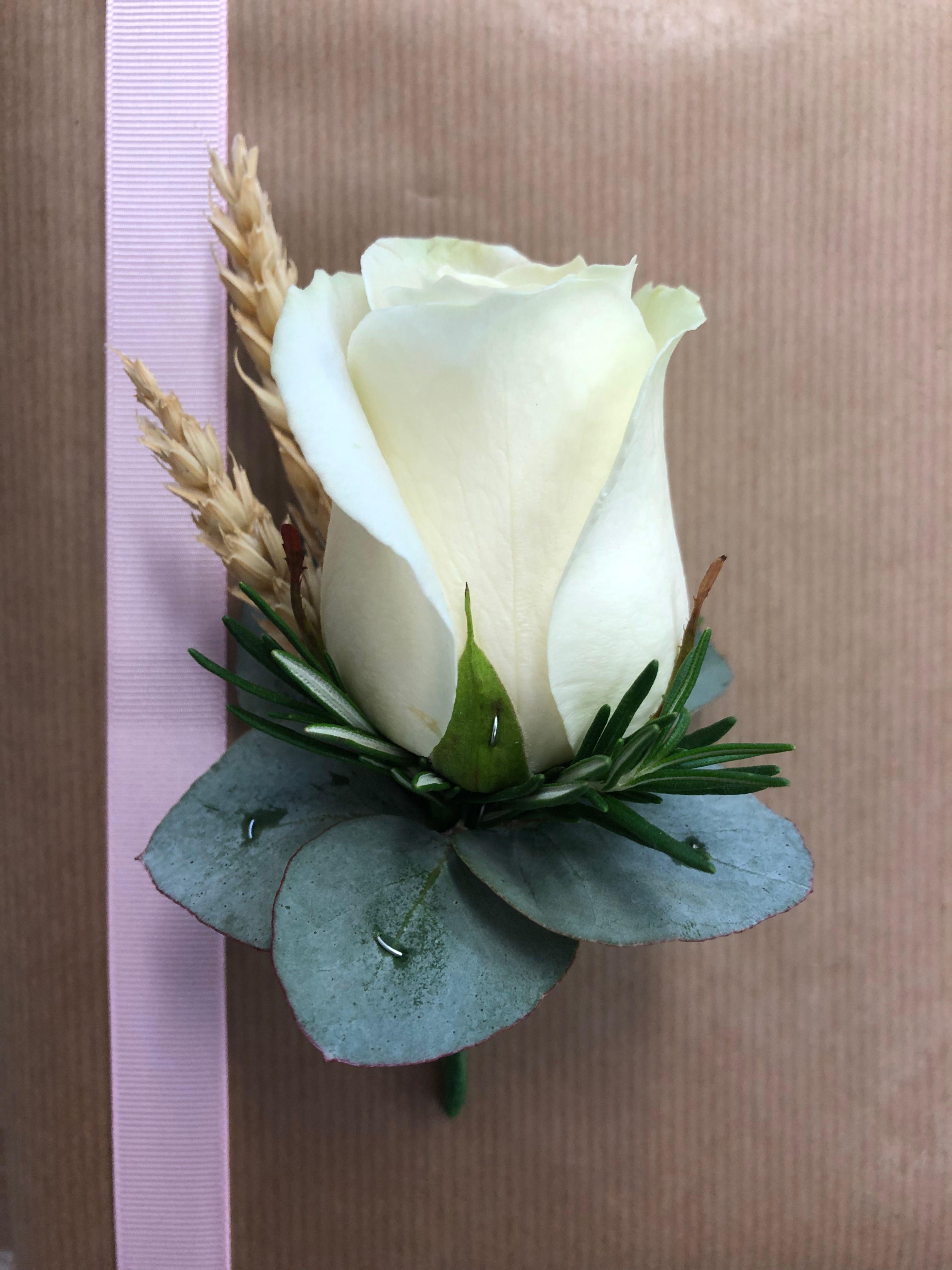 Single Rose Buttonhole Wedding Groom Flowers