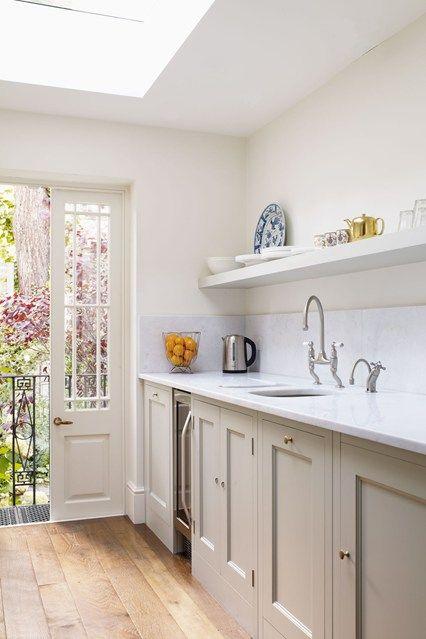 White And Grey Galley Kitchen plain english galley kitchen | galley kitchens, london house and