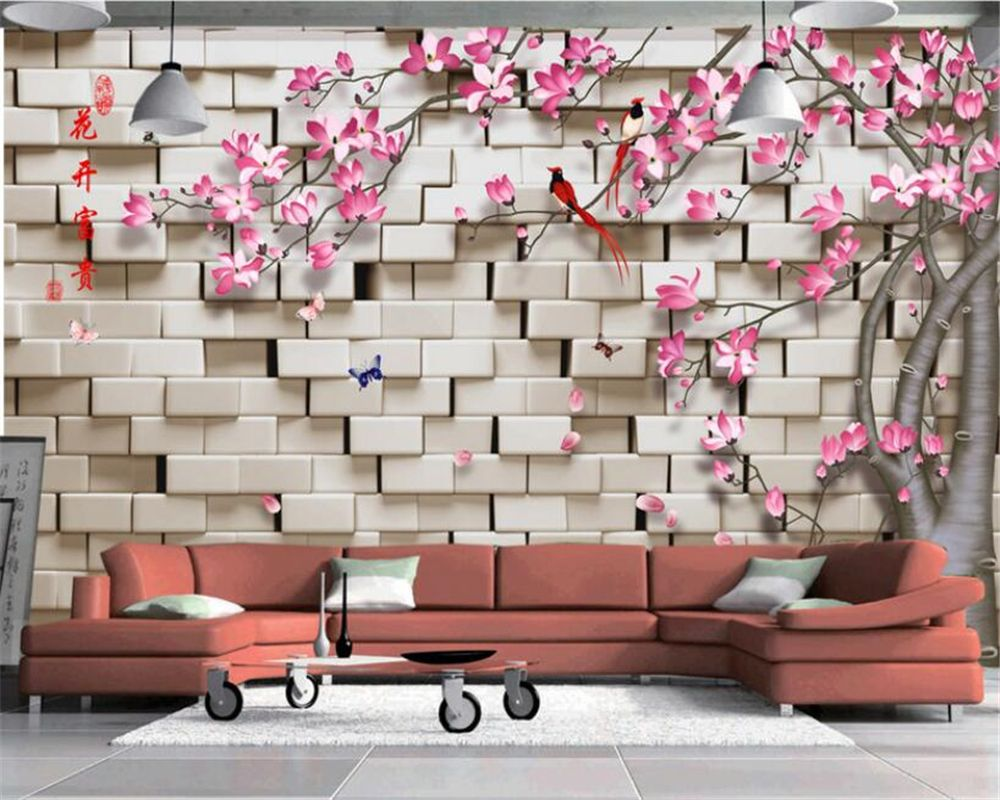 Beibehang 3D Wall Paper Flowers Floral Orchid Flower Photo Wallpaper Painting Living Room Bedroom TV