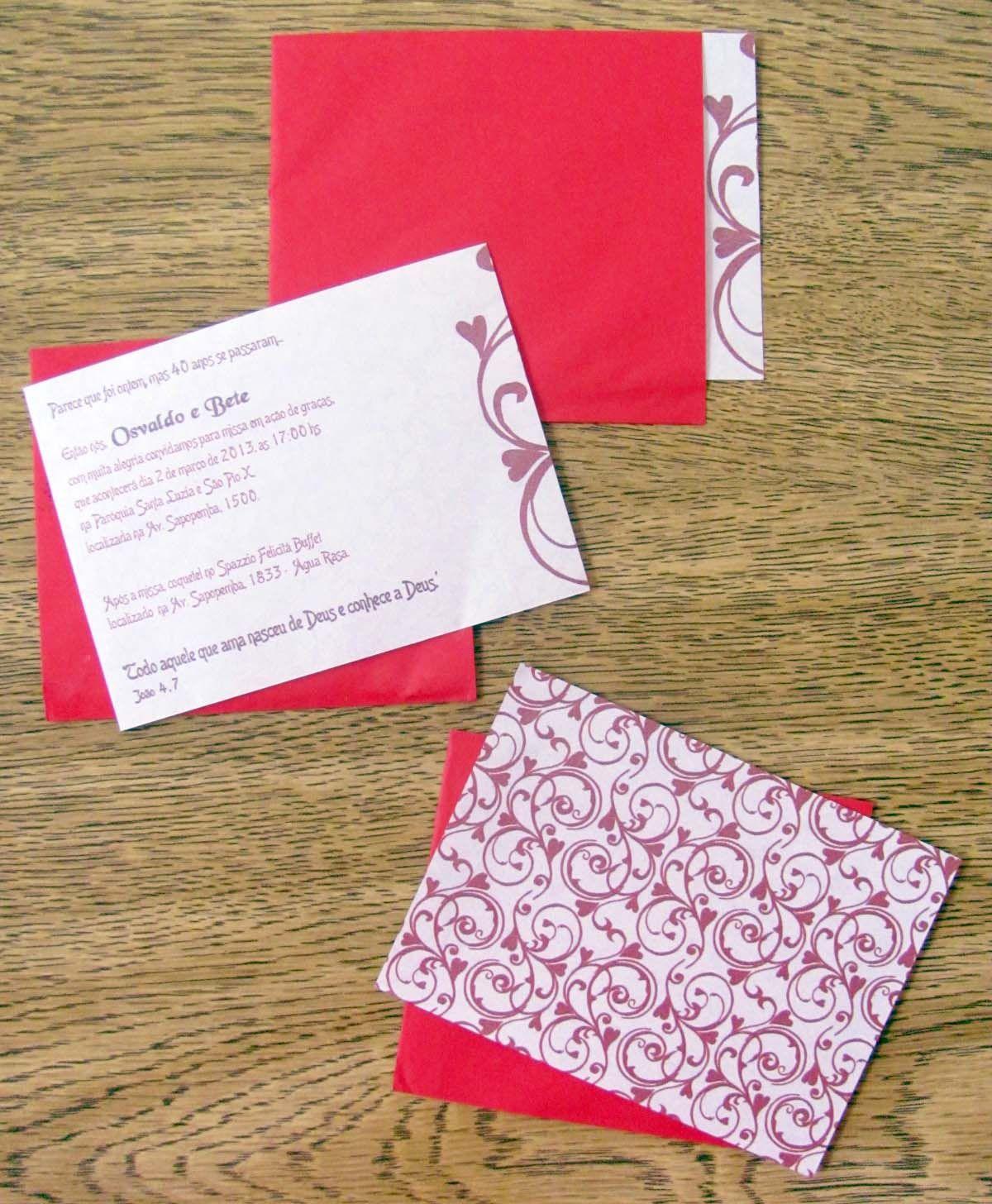 Convite bodas de rubi