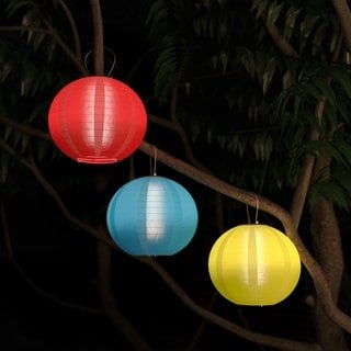Chinese Lanterns Solar Powered Led Bulbs Pure Garden Set Of 3 Blue Outdoor Hanging Lanterns Hanging Fabric Hanging Lanterns