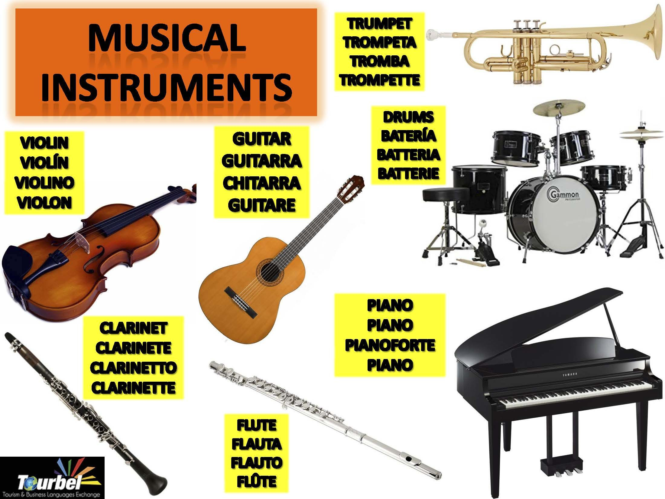 Today We Share Vocabulary Of Musical Instruments In English Spanish Italian And French Http Tourbel Com Lang En Hoy Compa Musicales Musical Vocabulario