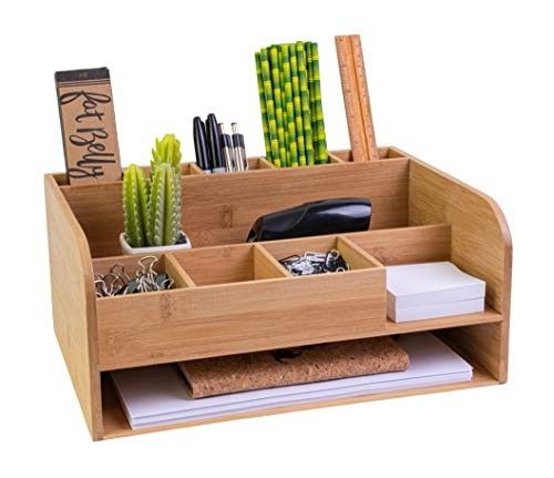 Bamboo Wood Desk Organizer From Amazon In 2020 Desk Storage Desk Organization Office Supply Storage
