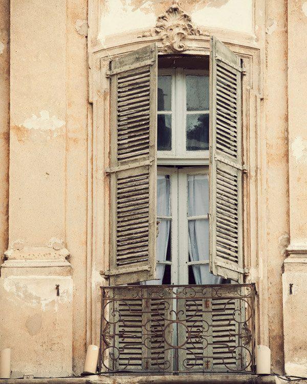 French Window, Provence Photograph, Spring, Pastel, Travel Photography, Pale Peach, Shabby Chic, Home Decor - La Bohème. $30,00, via Etsy.