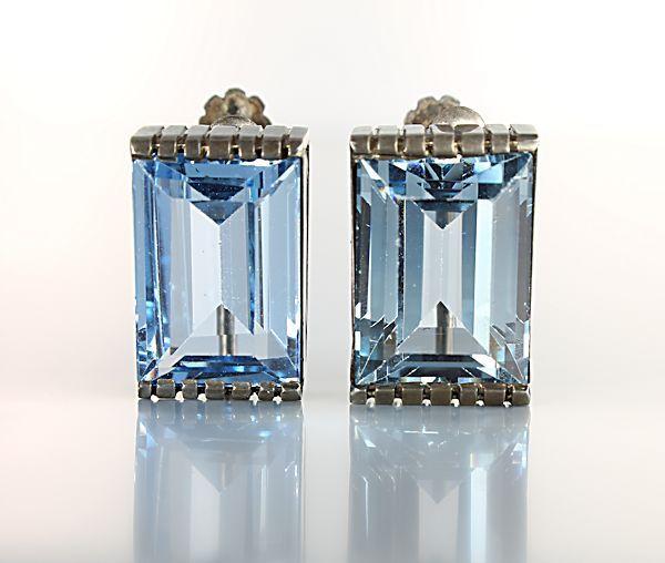 Art Deco Sterling silver Blue Crystal Earrings screw back - #art #deco #sterling #crystal #earrings