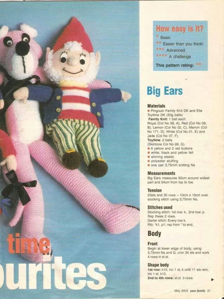 Big Ears Knitting Knitted Doll Patterns Knitted Dolls