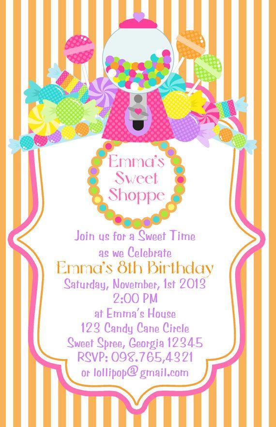 sweet shoppe candy birthday invite lizbsstationeryshop etsy com