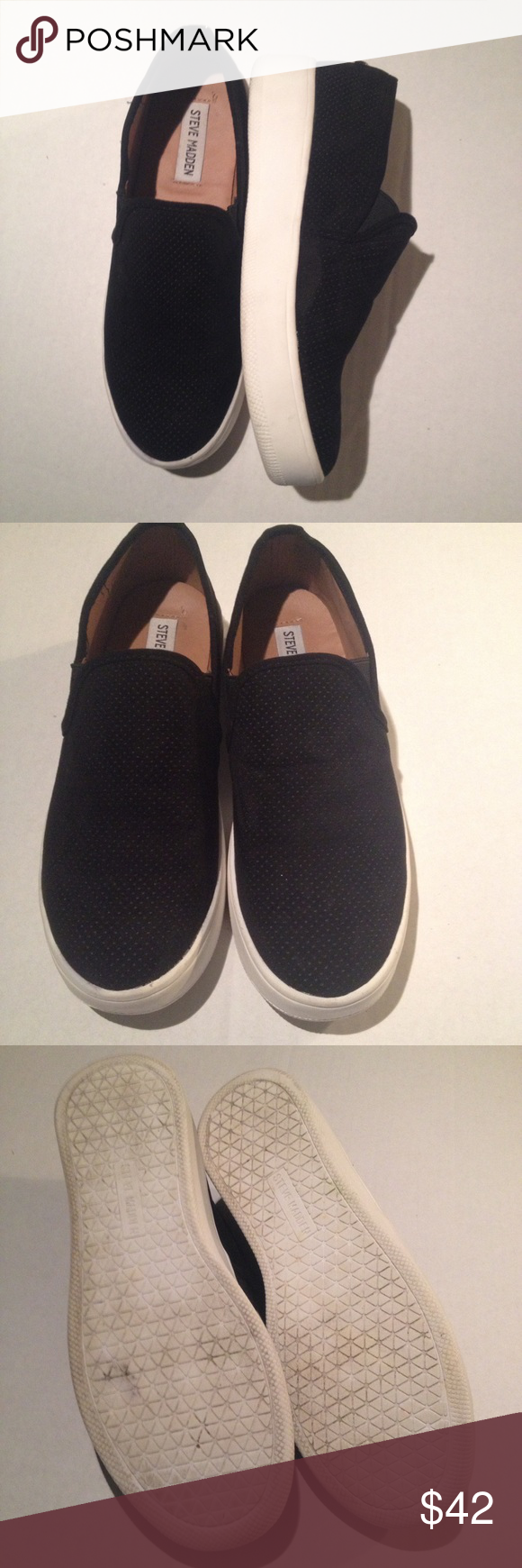 507c4243f1a Steve Madden platform sneakers Black suede look sneakers. 1 1 2 inch heel.  Style is called Gracy. Ask for more info if needed before buying.