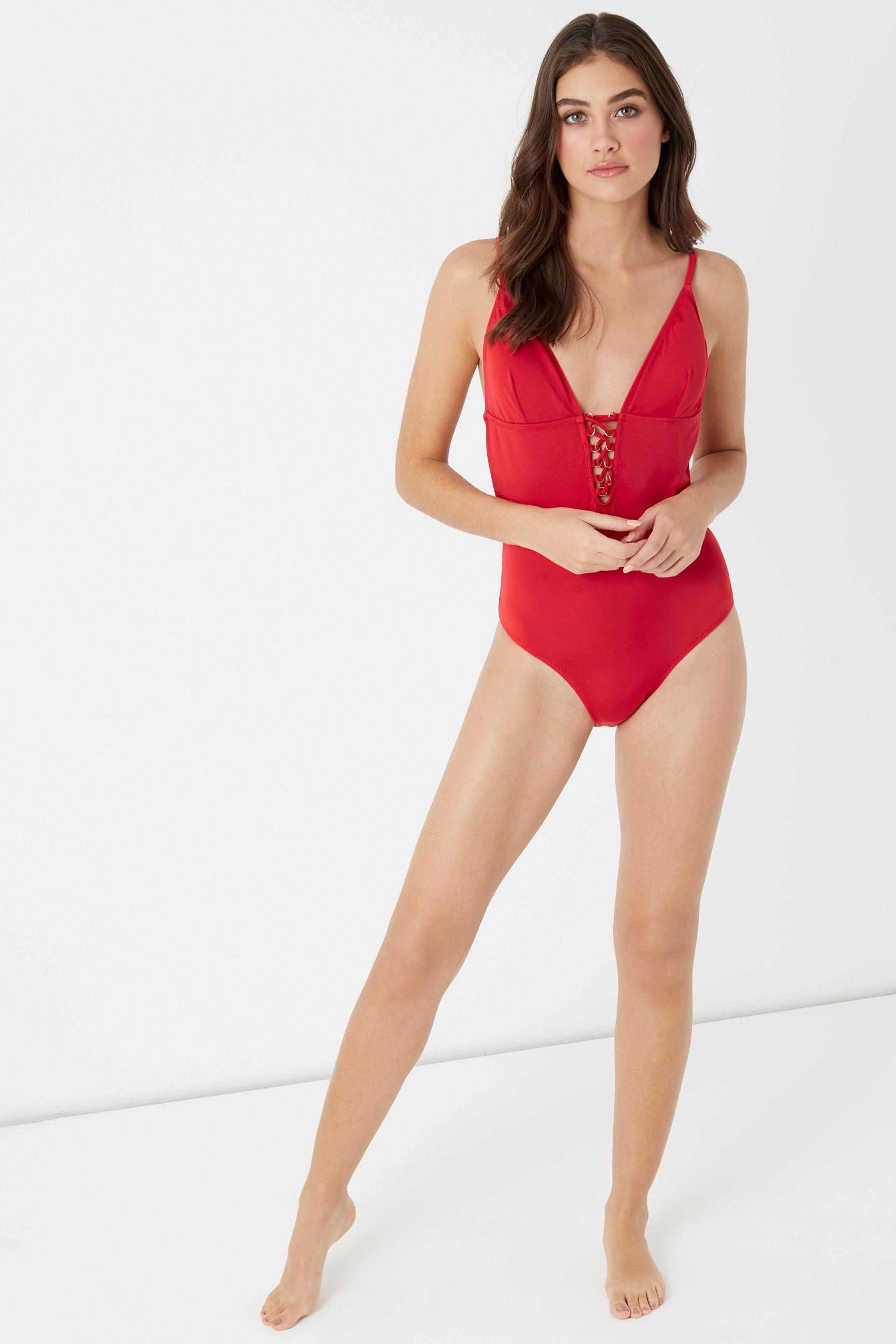 1b8dda75ec56 Womens Lipsy Lace Up Swimsuit - Red