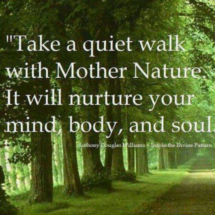 """Take A Quiet Walk With Mother Nature. It Will Nurture"