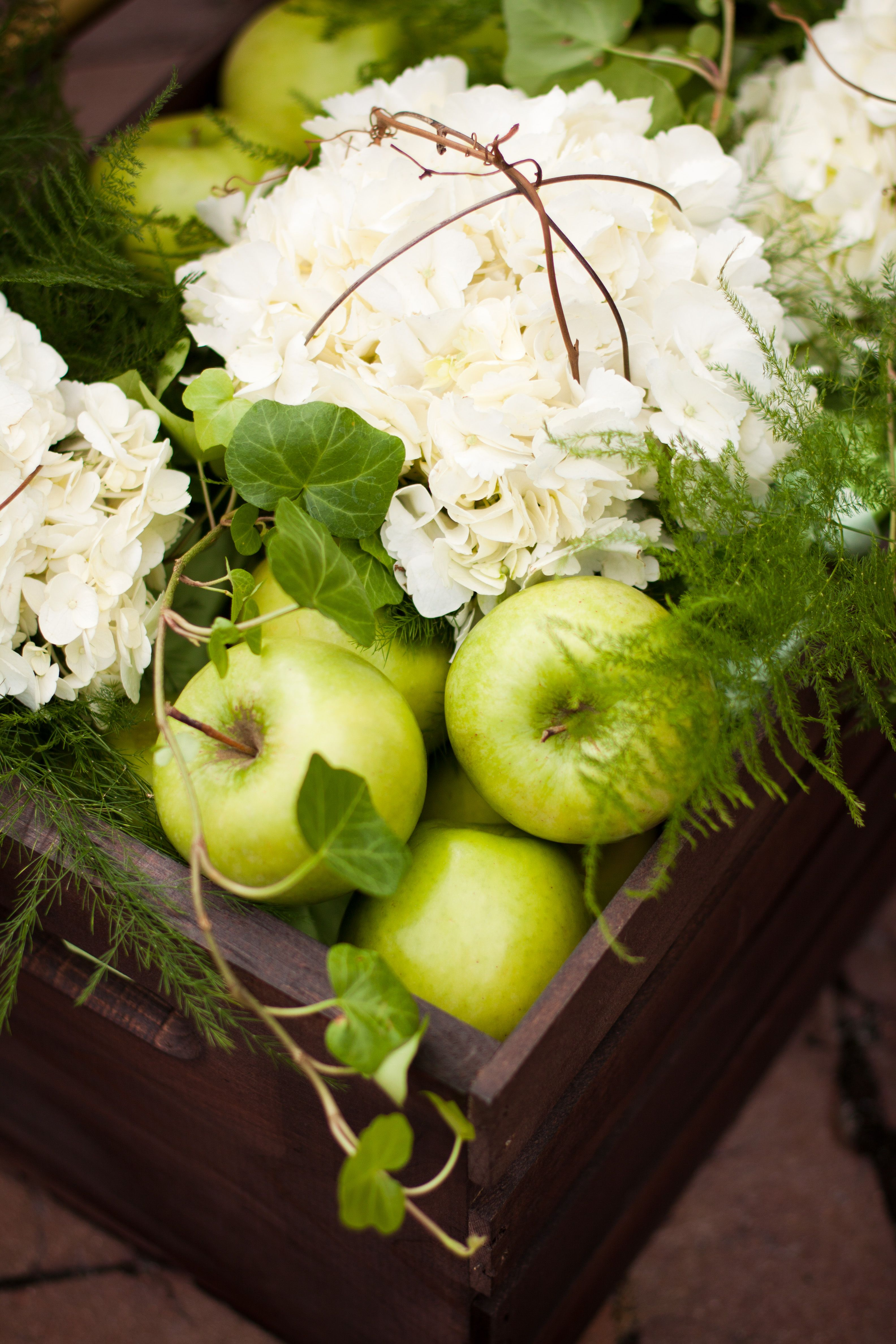 Green apples white hydrangeas pretty mix of colors and