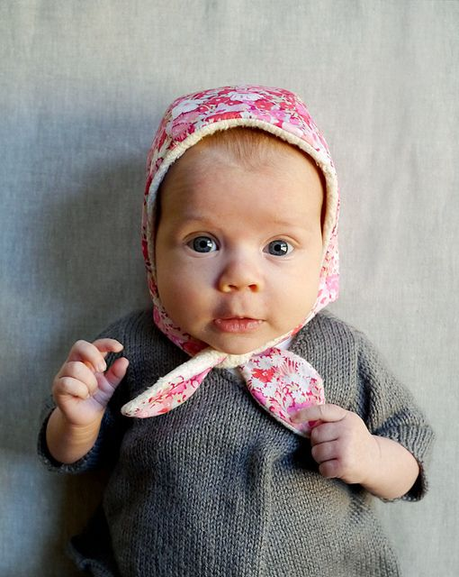 Winter Baby Bonnet Blue and White Corduroy Floral