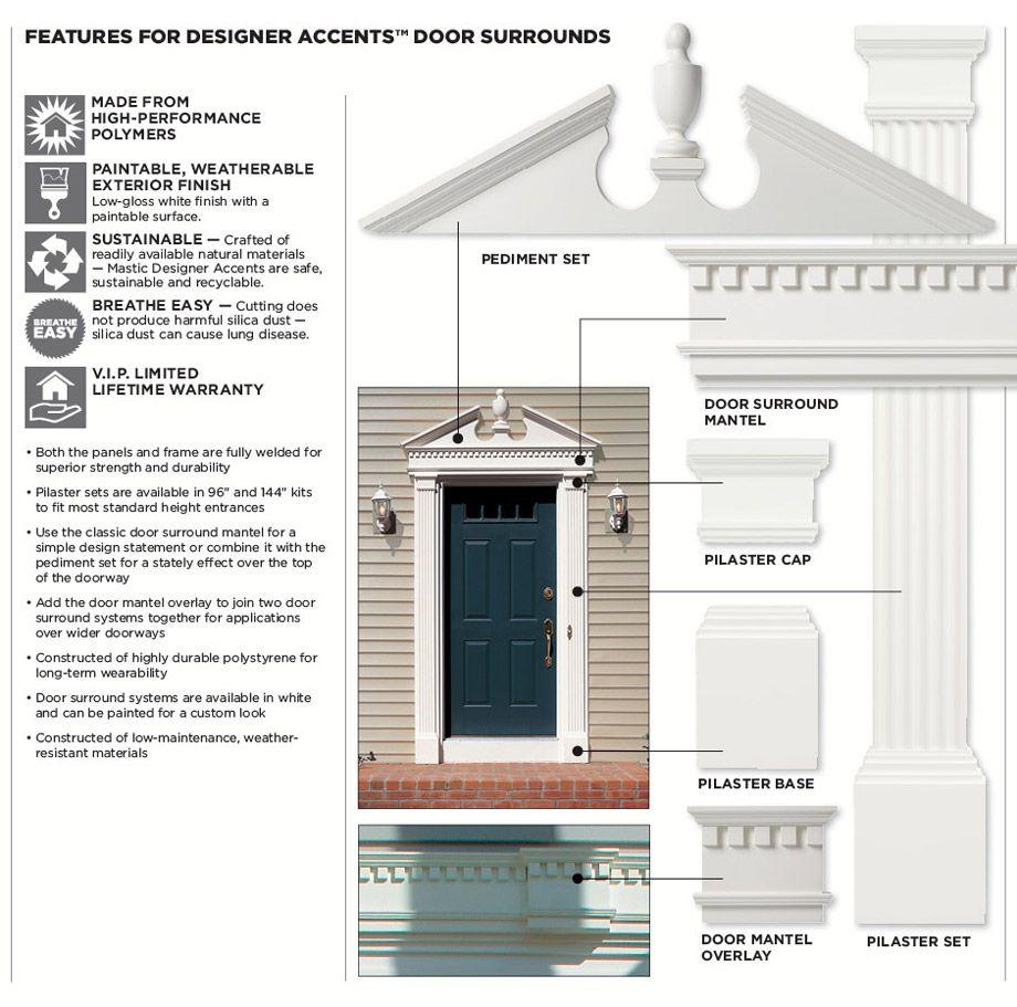 96inch Pilaster Set Features Door Surrounds Exterior