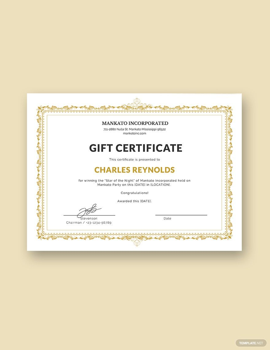 Fancy Gift Certificate Template Free Jpg Google Docs Illustrator Word Apple Pages Psd Publisher Template Net Gift Certificate Template Word Free Gift Certificate Template Gift Certificate Template