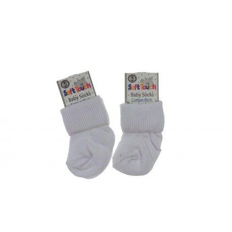 Plain White Cotton Rich Baby Socks 6 Pack Newborn 3 Months