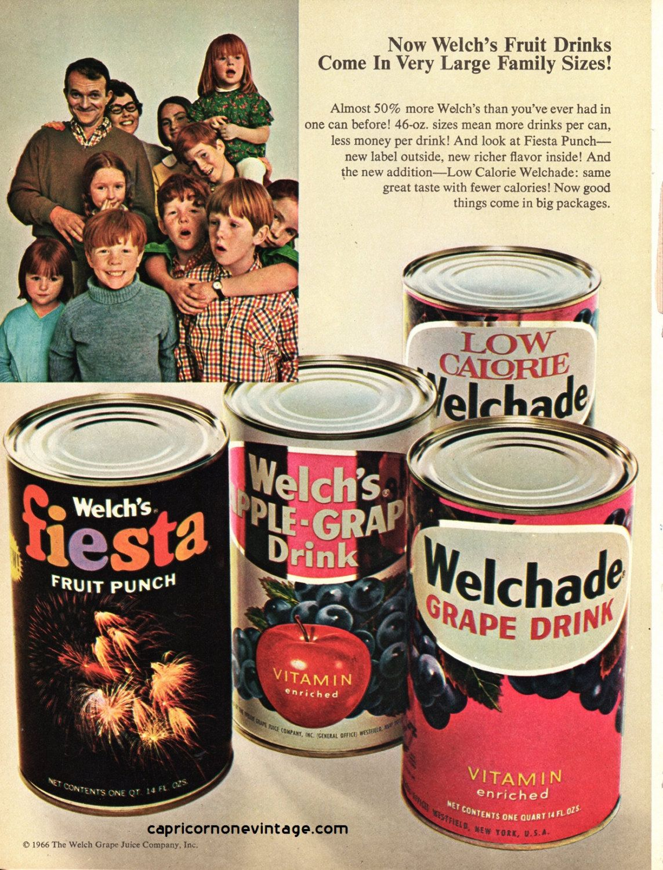 Vintage 1966 Welch 39 S Fruit Drinks Magazine Ad Kitsch Advertising Retro Wall Decor Welch Grape Juice Co Collect Frame Fruit Drinks Welch Grape Juice Welchs