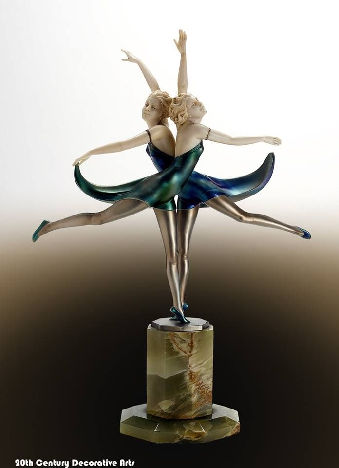"""Butterfly Dancers""' An Art Deco cold-painted bronze and ivory group by Prof.Otto Poertzel, Germany circa 1930."