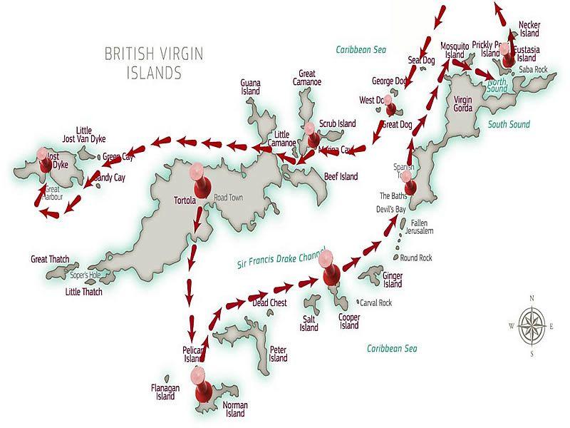 Sample Cruising Itinerary - BVI Yacht Charters BVI Sailing