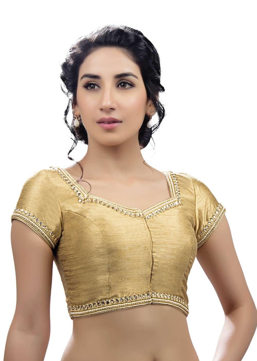 e874c1aa9c264e Ravishing Moti Laced Gold Ready-made Saree Blouse SNT-X-234-SL | Hot ...