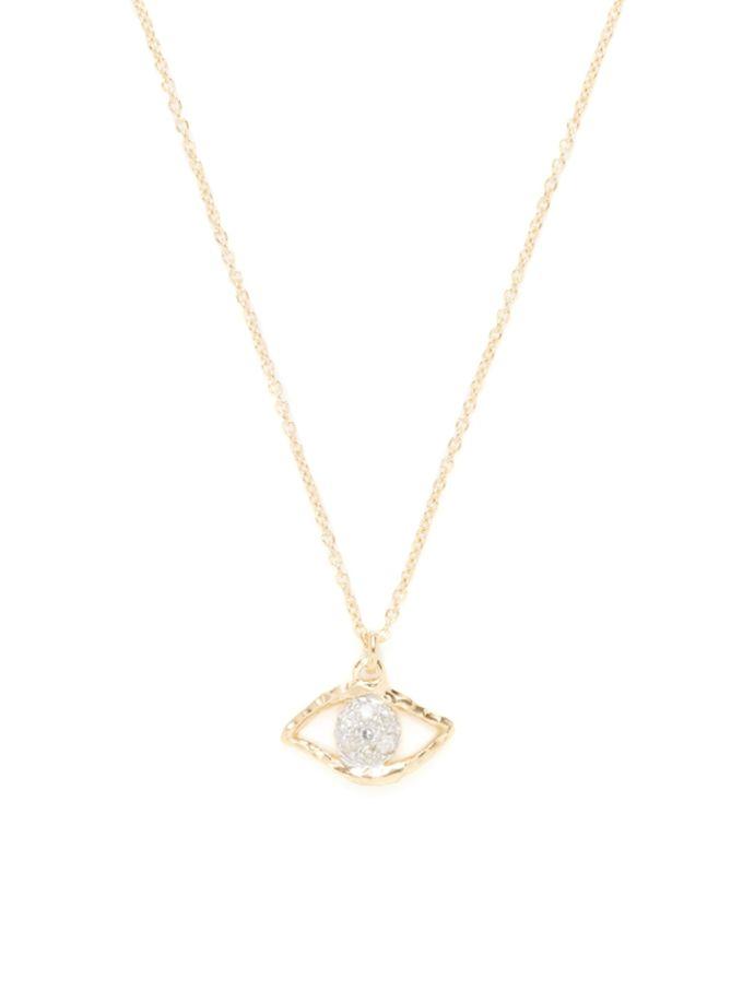 Gold & Diamond Evil Eye Pendant Necklace from Whitney Stern on Gilt