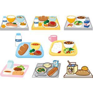 フリーイラスト ベクター画像 Ai 食べ物食料 料理 学校 給食