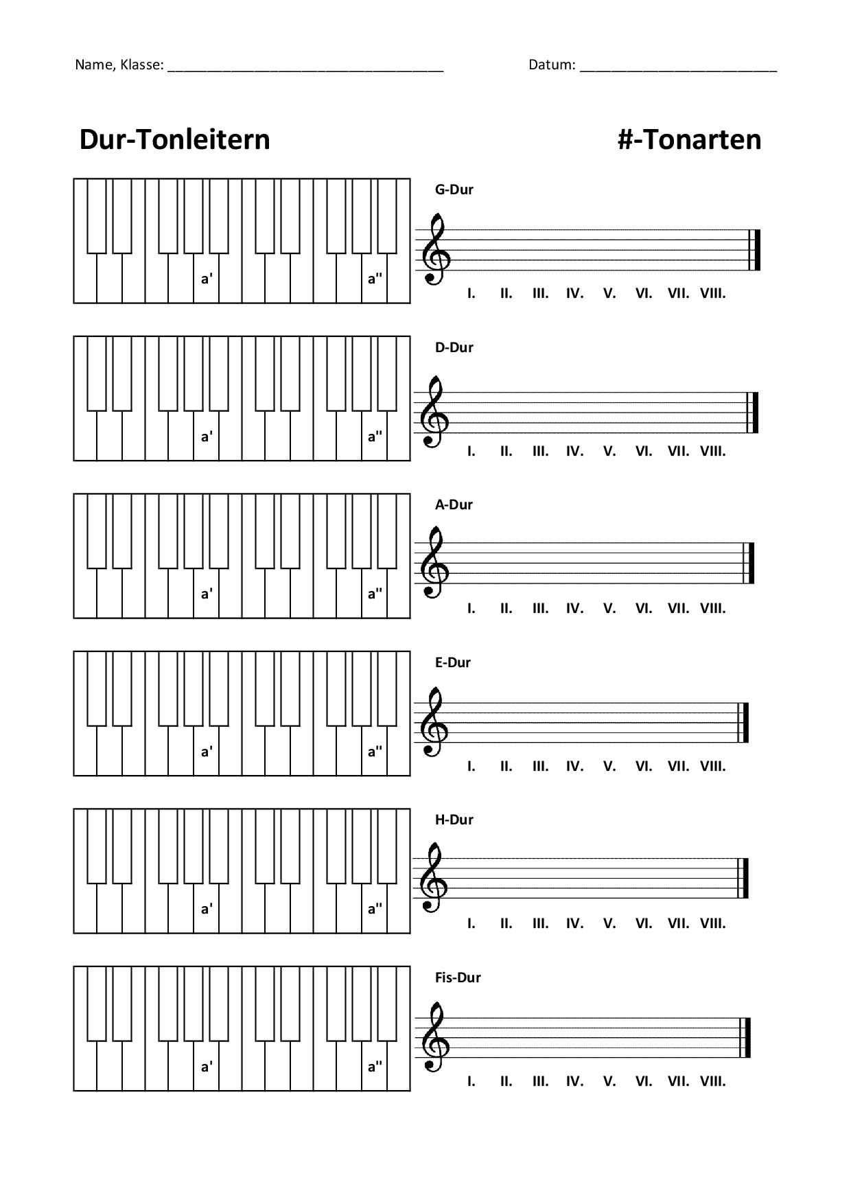 Tonleitern Dur/Moll /b notieren und markieren ...