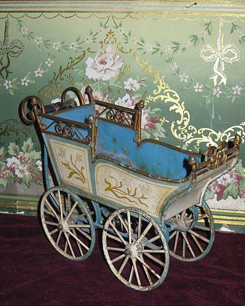 Superb Antique Blue Marklin German Toy Doll Carriage On