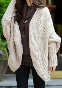 Love the look... Chunky Cable-Knit Batwing Cardigan, Delivery Inc: Chunky Cable-Knit Cardigan