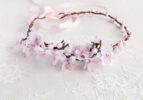 Cherry Blossom Crown Spring Wedding Halo Blush Boho Head Etsy In 2020 Flower Girl Crown Cherry Blossom Crown Boho Head Wreath