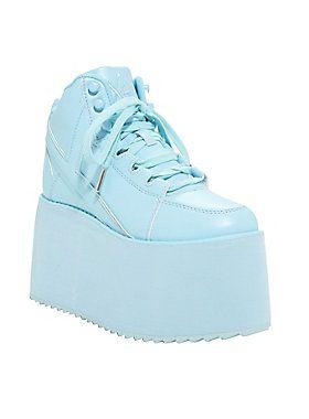 YRU Qozmo Hi Blue Platform Sneakers in 2020 | Spice girls