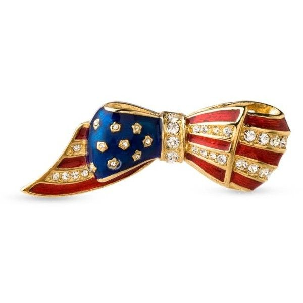 Carolee Red GoldTone Flag Pin 45 liked on Polyvore featuring