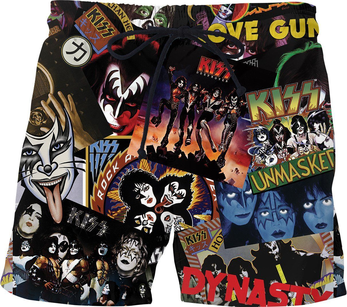 Kiss Rock Band THROUGH THE FIRE 2-Sided All Over Print Long Sleeve Poly T-Shirt