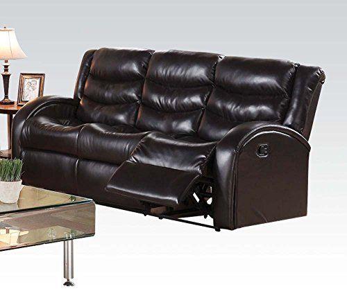 Espresso Bonded Leather Reclining Sofa