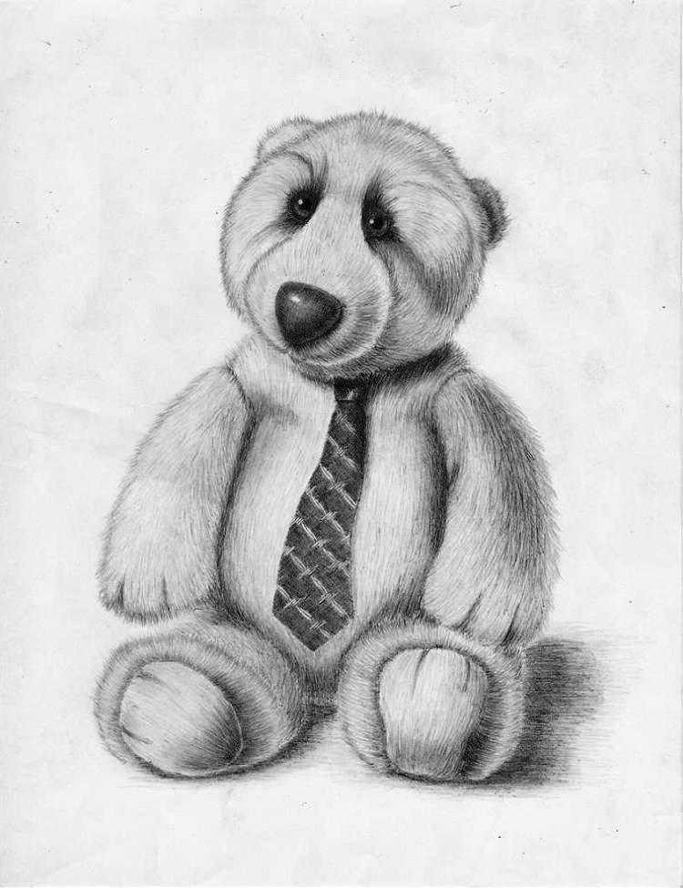 Картинки плюшевого медведя карандашом, сделать