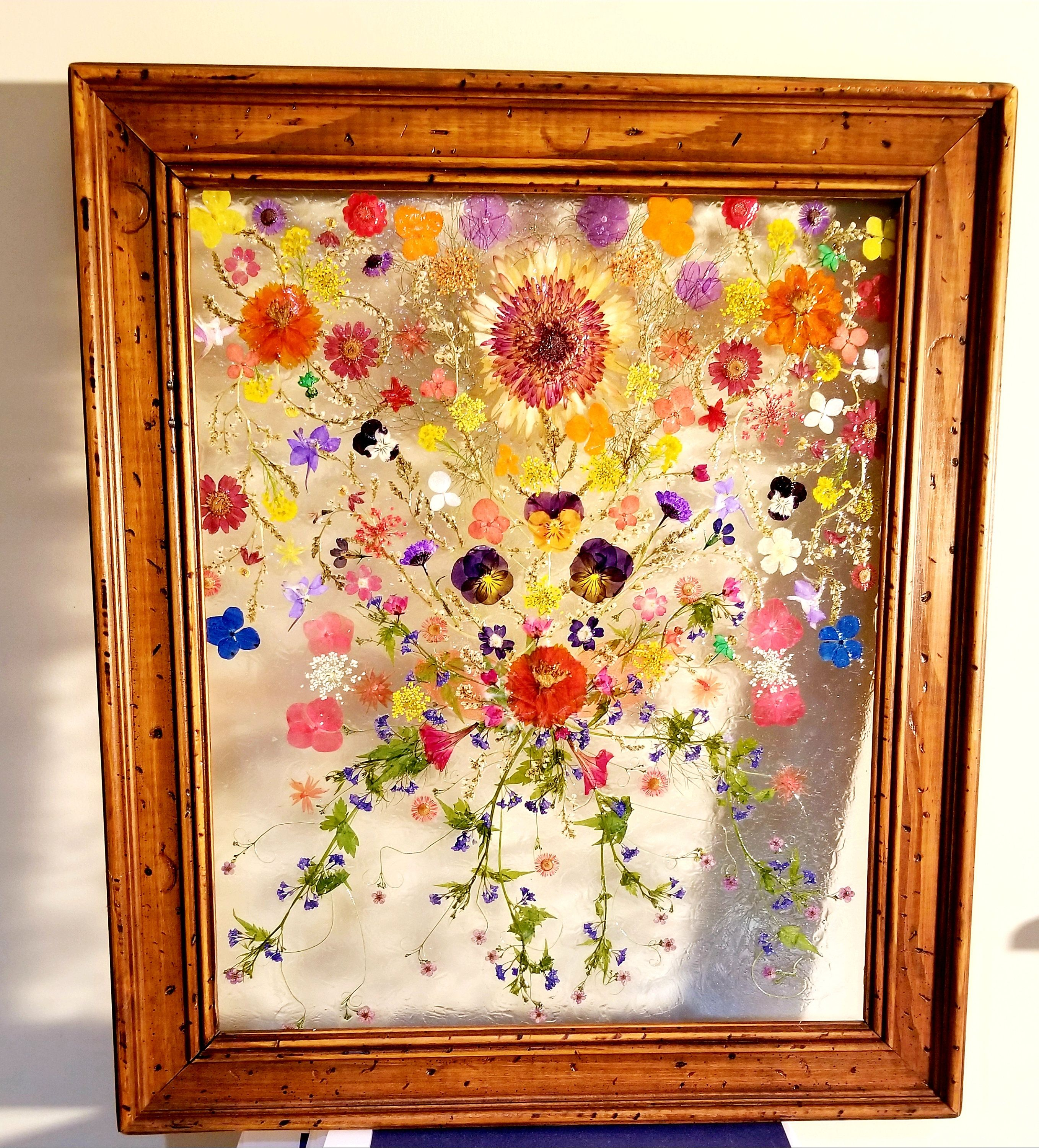 Now For Sale Real Pressed Flowers In Rustic 20 X 17 Wooden Floating Frame Pressed Flowers On Glass Framed Flower C Framed Flower Art Flower Frame Flower Art