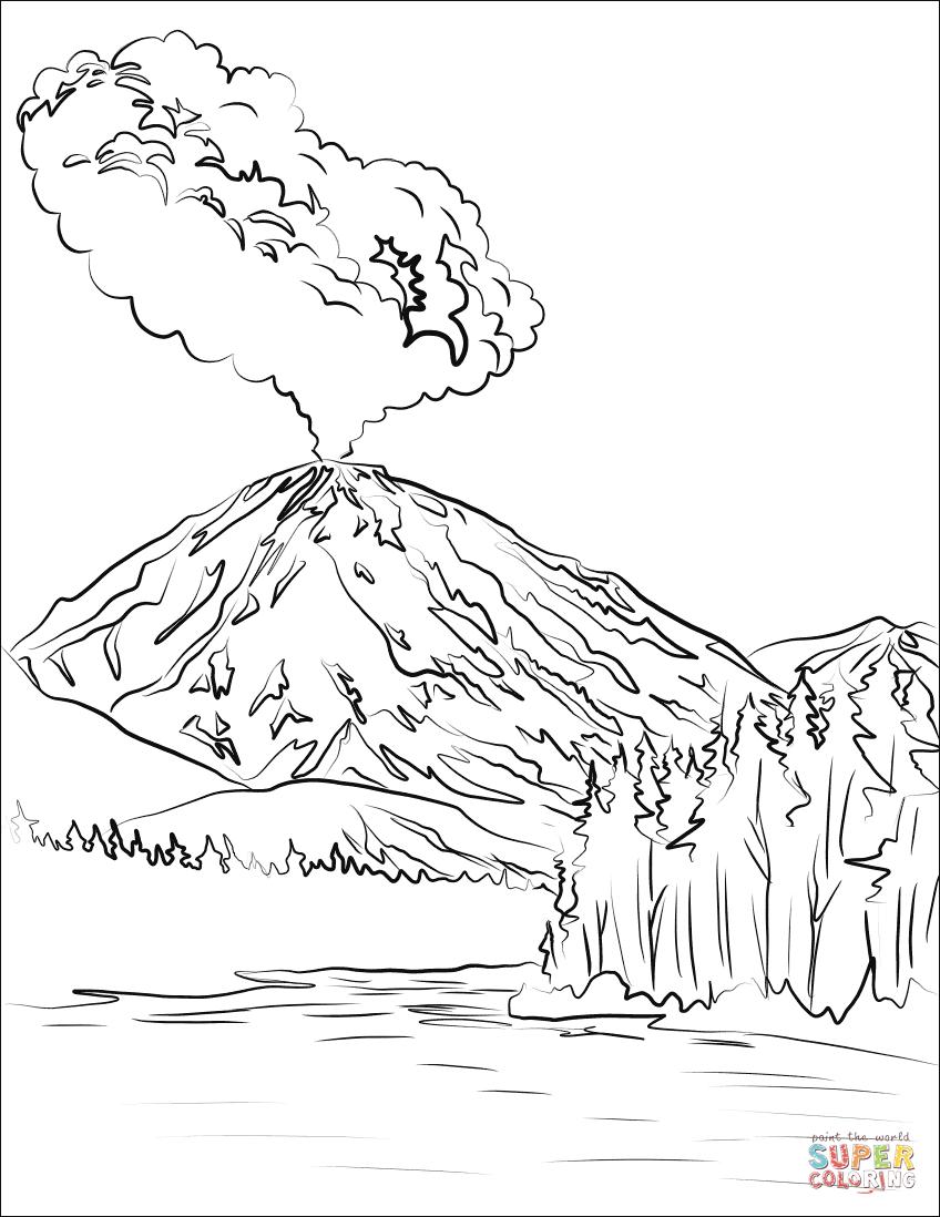 Lassen Peak Volcano Eruption Super Coloring Coloring Books Coloring Pages Volcano