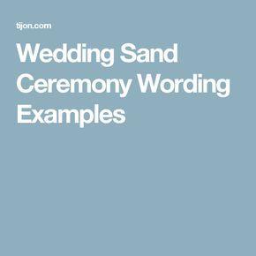 Wedding Sand Ceremony Wording Examples