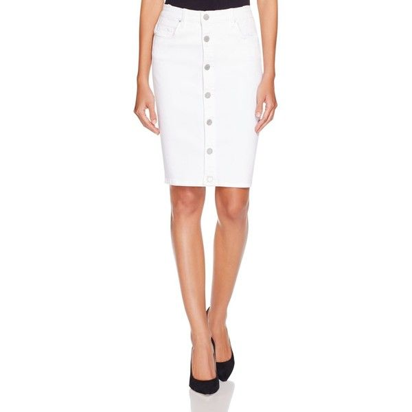Blanknyc Button Front Denim Pencil Skirt featuring polyvore ...