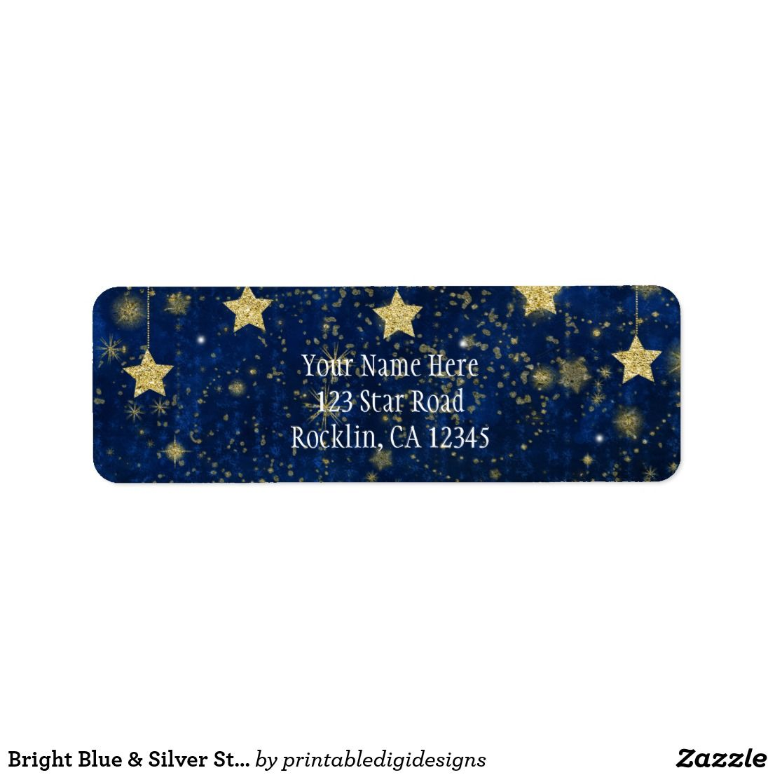 bright blue silver starry celestial invitation label wedding