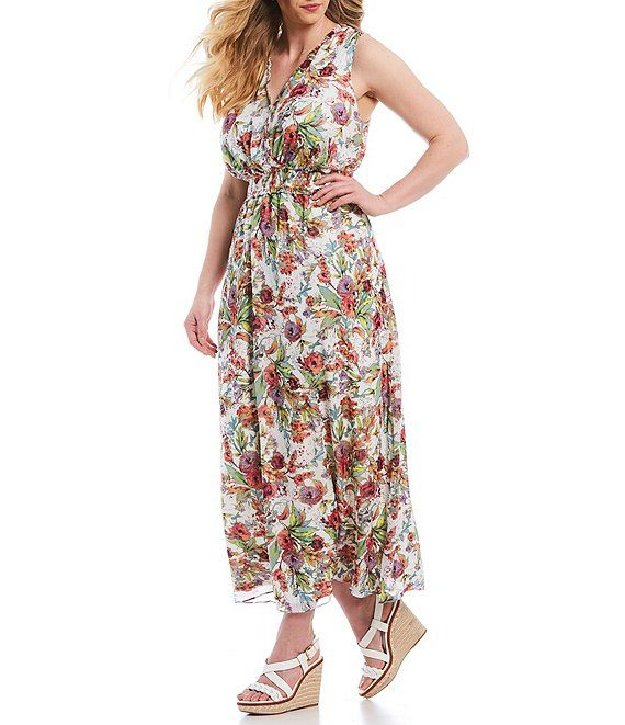 590a0ae557e London Times Plus Size Floral Print V-Neck Sleeveless Maxi Dress in ...