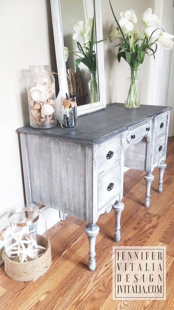 Sold Make Up Vanity Desk. Hand Painted in Charcoal