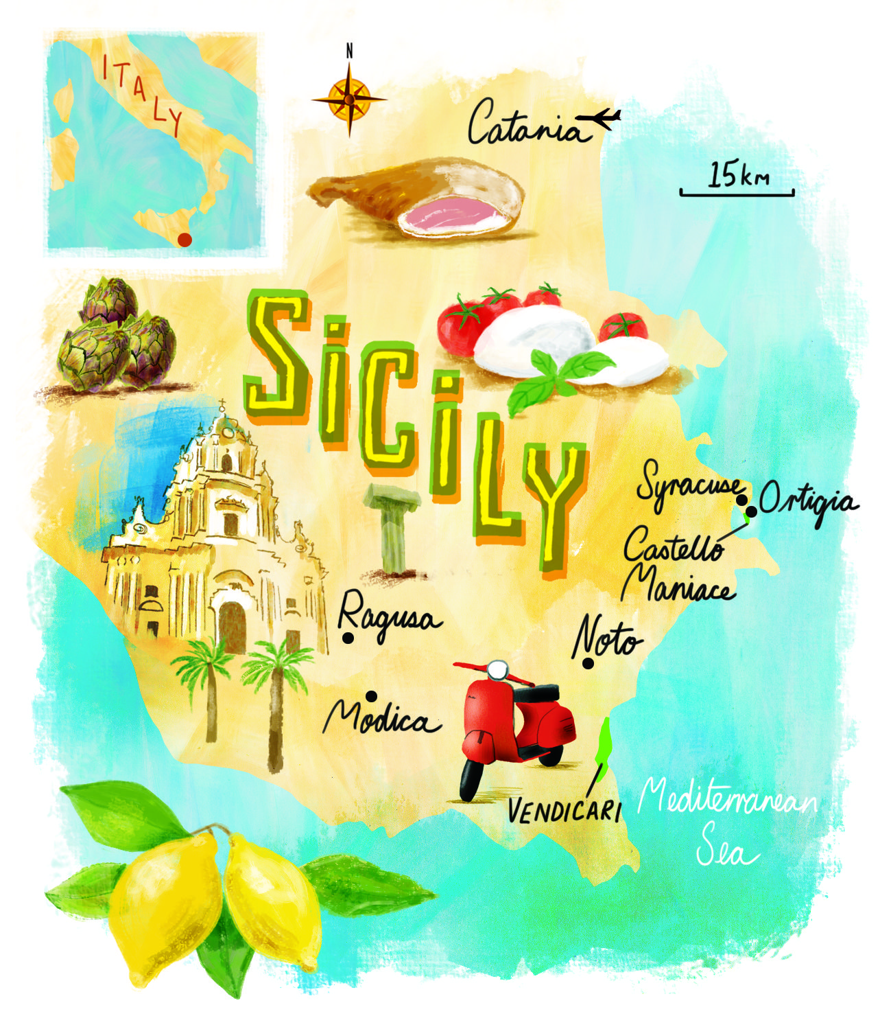 South East Sicily Map By Scott Jessop Map Sicily Italy - Syracuse map italy