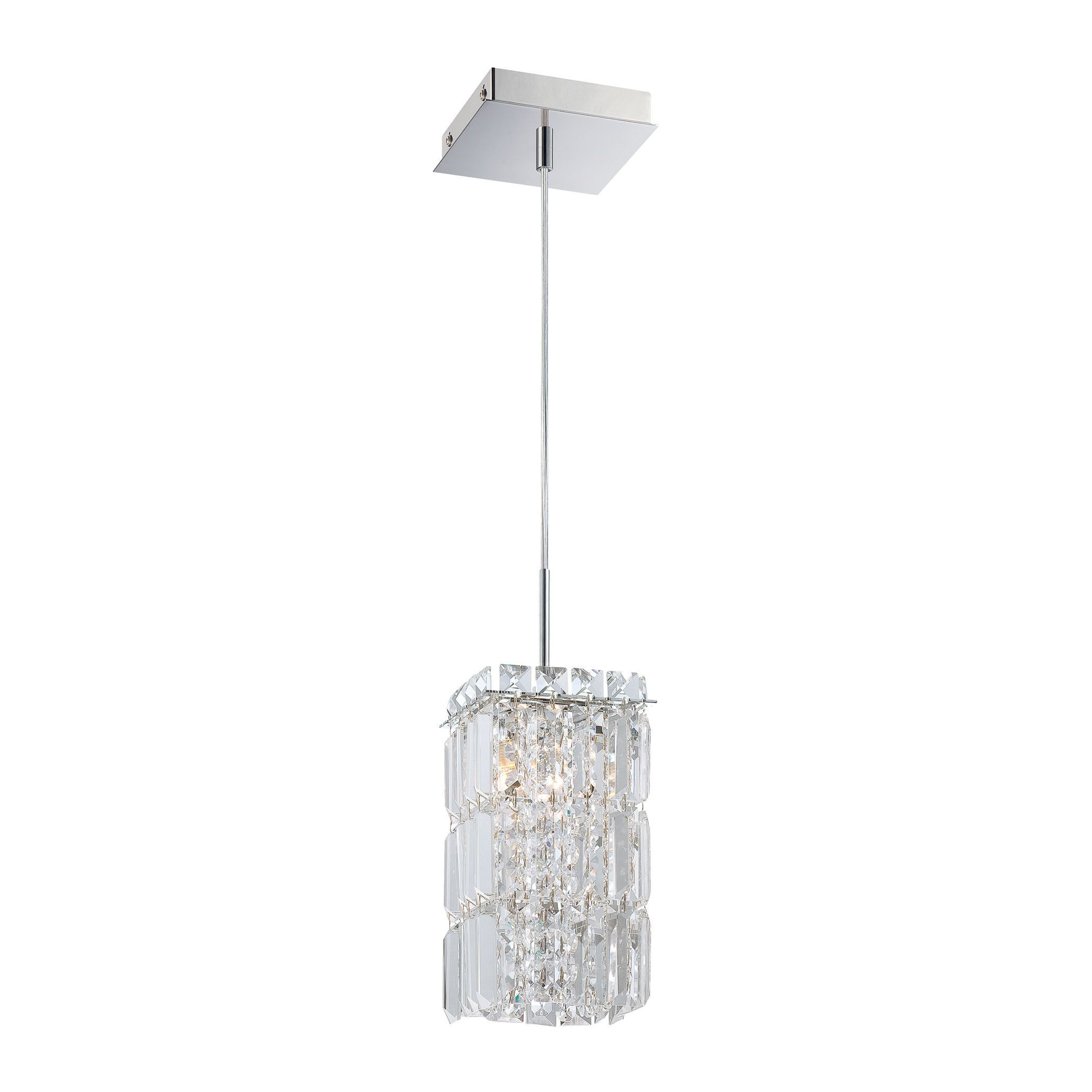 King 1 Light Pendant In Chrome And Clear Crystal Glass Includes